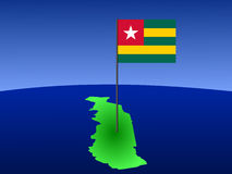 Map of Togo with flag Royalty Free Stock Photo