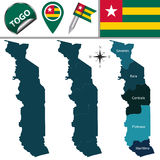 Map of Togo with Named Regions Stock Photo