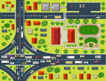 Map of a top. View from the rooftops, city streets, trees and highways vector illustration