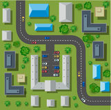 Map of a top. View from the rooftops, city streets, trees and highways Stock Image