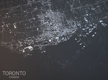 Map of Toronto, satellite view, city, Ontario, Canada. Royalty Free Stock Images