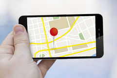 Map touchscreen mobile phone Royalty Free Stock Photo