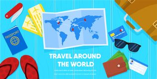 Map and Tourist Accessories Passport Ticket Wallet. Travel Around World Banner. Paper Map and Tourist Accessories Passport Airplane Ticket Wallet Suitcase Vector royalty free illustration