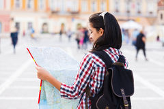 Map and Tourist Royalty Free Stock Photos
