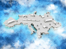 Map with train of the Europe Stock Image