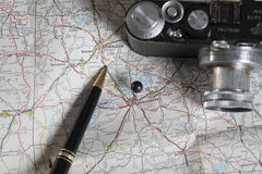 Map and travel accessories, Montgomery, alabama Stock Photos