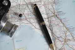 Map and travel accessories, tallahasee, florida. Travel photo showing map, camera, and pen royalty free stock images