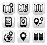 Map travel buttons set Stock Photo