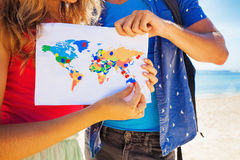 Map with travel destinations. Pinned Stock Photos