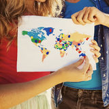 Map with travel destinations pinned Stock Photography