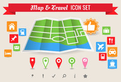 Map & Travel Icon Set. Collection of map and travel vector symbol and icons Stock Image