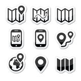 Map travel icons set Stock Images