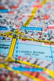 Map Of London Close-up. Map travel planning close-up travel plan london cartography Stock Photo