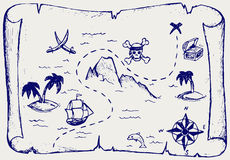 Map of treasure island. Doodle style Stock Images