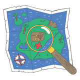 A map with a treasure and a loupe Royalty Free Stock Photography