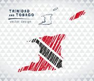 Map of Trinidad and Tobago with hand drawn sketch pen map inside. Vector illustration. Vector sketch map of Trinidad and Tobago with flag, hand drawn chalk stock illustration