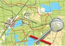 Map of trip on the forests. Vector illustration Royalty Free Stock Photography