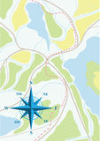 Map of trip on the forests. Vector illustration Stock Images