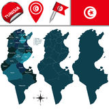 Map of Tunisia with named governorates Royalty Free Stock Images