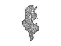 Map of Tunisia on poppy seeds Stock Image