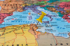 Map of Tunisia with a yellow pushpin stuck Stock Photography