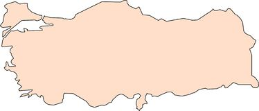 Map of Turkey with black contour lines