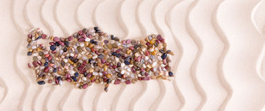 Map of Turkey Formed with Pebbles on Beach Stock Photography