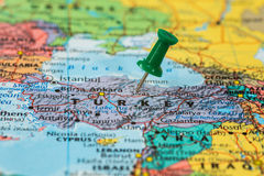 Map of Turkey with a green pushpin stuck Stock Photos