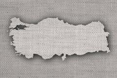Map of Turkey on old linen Stock Photo
