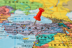 Map of  Turkey with a red pushpin stuck Royalty Free Stock Photography
