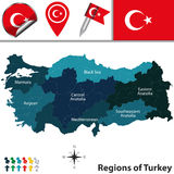 Map of Turkey with Regions Stock Image