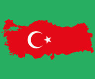 Map of Turkey Turkish flag painted with color symbols  the moo Royalty Free Stock Photos