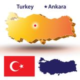 Turkey. Map of Turkey. Vector silhouette of the Turkish flag. The country`s capital - Ankara Royalty Free Stock Photography