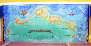 Map of Turks and Caicos. Artwork map of Turks and Caicos on the wall of souvenir shop, Providenciales Royalty Free Stock Photos