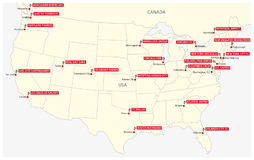 Map of the twenty-two clubs of the North American football league.  Stock Images
