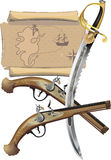 Map, two Pistols, and pirate Sword. Illustration vector and raster Royalty Free Stock Photo
