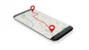 Map with two red pointers marking route set on smartphone screen. Isolated on white Stock Photos