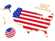 Map of U.S. Map painted in the colors of the national flag of the United States Stock Photos
