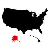 Map of the U.S. state  Alaska Royalty Free Stock Image