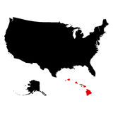 Map of the U.S. state  Hawaii Stock Photos