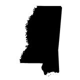 Map of the U.S. state Mississippi Stock Images