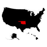 Map of the U.S. state  Oklahoma Royalty Free Stock Photo