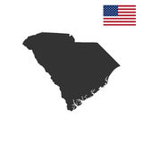 Map of the U.S. state of South Carolina. On a white background Stock Photos