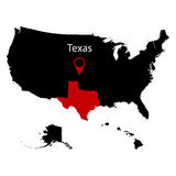 Map of the U.S. state of Texas Stock Photos