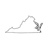 Map of the U.S. state of Virginia. Vector illustration Royalty Free Stock Photo