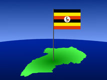 Map of Uganda with flag Stock Photo