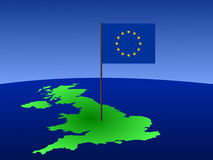 Map of UK and EU flag Royalty Free Stock Photography