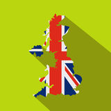 Map of UK of the national flag icon, flat style Royalty Free Stock Images