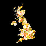 Map of UK with pound symbols. Map of UK with collage of colourful pound symbols illustration Royalty Free Stock Photos