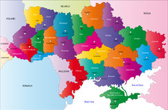 Map of Ukraine. Ukraine map designed in illustration with the region colored in bright colors and with the main cities. On an illustration neighbouring countries Stock Photo
